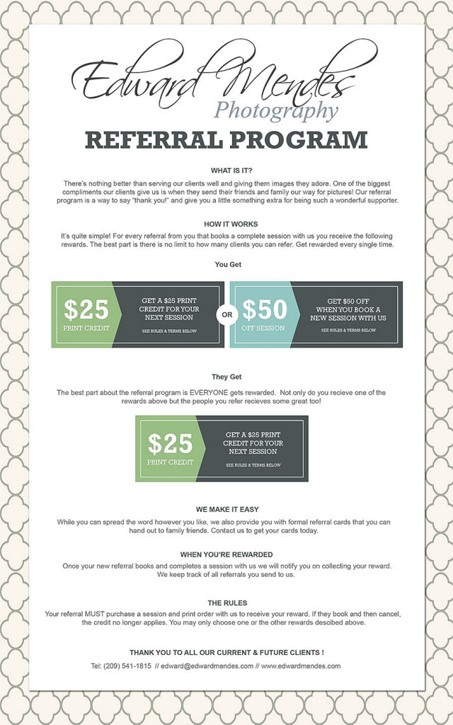Portrait Referral Program - Edward Mendes Photography