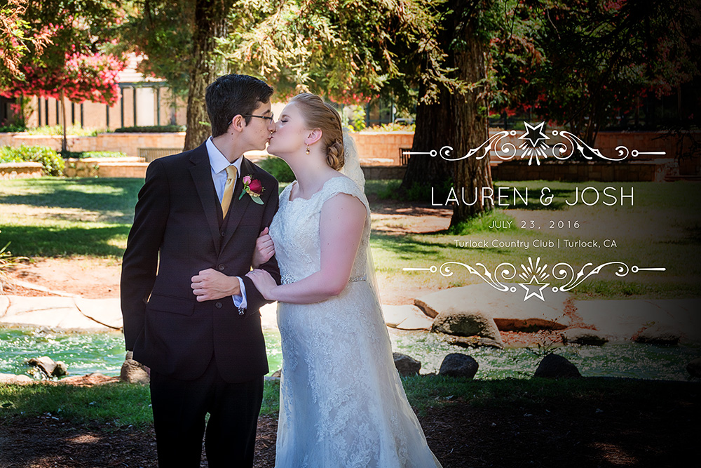 Wedding couple kissing at CSU Stanislaus