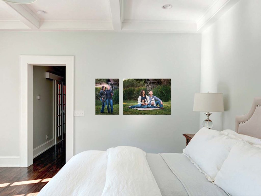 wall art display of engaged couple on bedroom wall